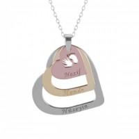 Üç Renk Kalp Figürlü Gümüş İsimli Kolye