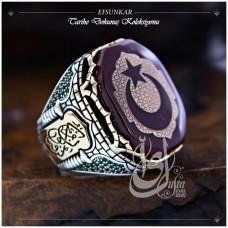 İslam Usta Tasarımı Efsunkar Gümüş Erkek Yüzük